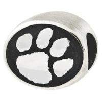 Sterling Silver Collegiate Clemson University Tiger Print Antiqued Charm Bead