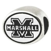 Sterling Silver Collegiate Marshall University Antiqued Charm Bead