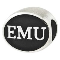 Sterling Silver Collegiate Eastern Michigan University Antiqued Charm Bead