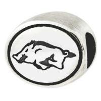 Sterling Silver Collegiate University of Arkansas Razorback Antiqued Charm Bead