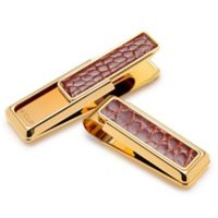 M-Clip® New Yorker Gold-Plated Alligator Money Clip in Cognac
