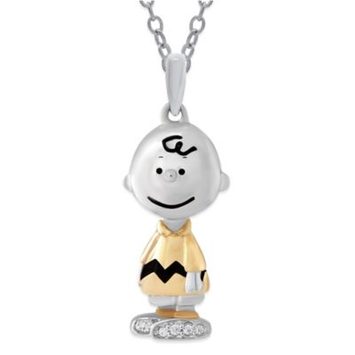 Peanuts Sterling Silver 02 cttw Diamond 18 Inch Chain Charlie