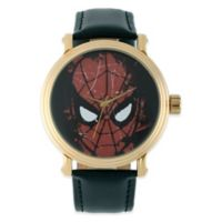 Marvel Men's 43mm Spider-Man Black Dial Watch in Gold with Black Leather Strap