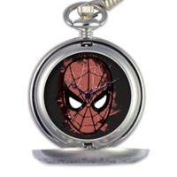 Marvel Men's 51mm Spider-Man Black Dial Pocket Watch in Silver