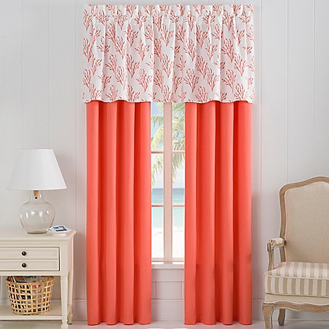 Isla Window Curtain Panel Pair And Valance In Coral Bed