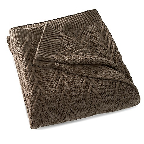 buy flatiron home cable knit throw in brown from bed bath beyond. Black Bedroom Furniture Sets. Home Design Ideas