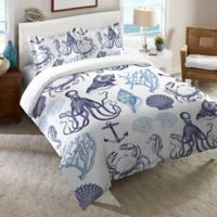 Laural Home® Navy Coastal Creatures Standard Pillow Sham in Blue