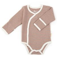 Tadpoles Size 6-9M Organic Cotton Long Sleeve Kimono Striped Bodysuit in Cocoa