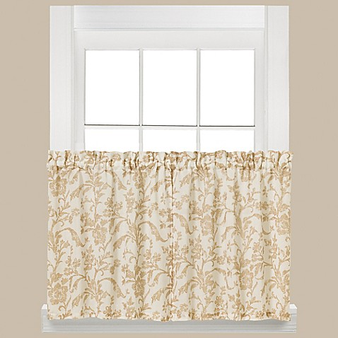 Buy melissa 36 inch window curtain tier pair in tan from bed bath beyond for 36 inch bathroom window curtains