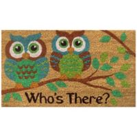 "22-Inch x 36-Inch ""Who's There?"" Vinyl-Backed Coir Door Mat in Green"