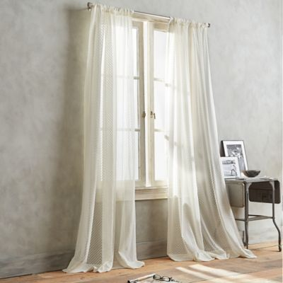 DKNY Modern Lines 63 Inch Sheer Window Curtain Panel In Ivory
