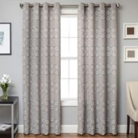 Lindbergh Grommet Top 108-Inch Window Curtain Panel in Grey/White