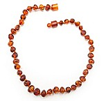 Healing Hazel Baltic Amber 10.5-Inch Baby Necklace in Polished Cognac