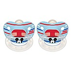 NUK® Disney® Mickey Mouse 0-6M 2-Pack Orthodontic Pacifiers in White/Blue Multi