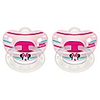 NUK® Disney® Minnie Mouse 6-18M 2-Pack Orthodontic Pacifiers in White/Pink