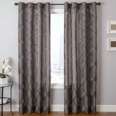 marlene grommet top 96inch window curtain panel in grey