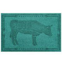 Weather Guard™ 23-Inch x 35-Inch Cow BBQ Mat in Aqua