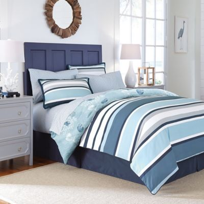 sets white striped comforter blue and