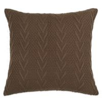 Flatiron Home Cable Knit Square Throw Pillow in Brown