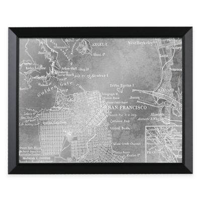 headwest san francisco map framed mirror - White Framed Mirrors