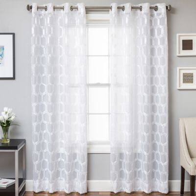 Rochelle Grommet Top 84 Inch Window Curtain Panel In White