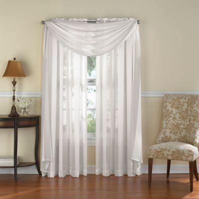 Venetian Stripe Rod Pocket 63 Inch Sheer Window Curtain Panel In White