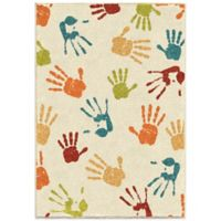Aria Rugs Kids Court 5-Foot 3-Inch x 7-Foot 6-Inch Handprints Area Rug in Ivory