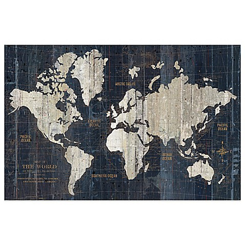 Old world map wall art in blue bed bath beyond for World map wall art