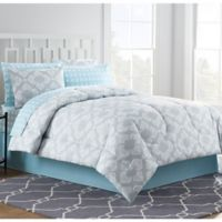 Chandra 8-Piece Queen Comforter Set in Light Grey