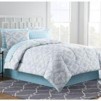 Chandra 8 Piece Queen Comforter Set In Light Grey