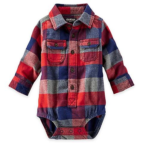 OshKosh B'gosh® Flannel Plaid Bodysuit in Red - buybuy BABY