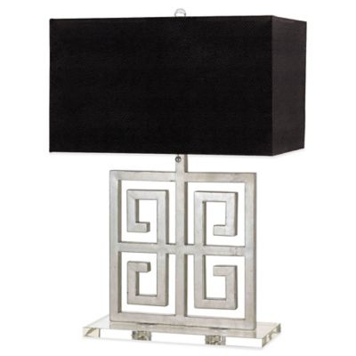 Buy silver black table lamp from bed bath beyond af lighting santorini 2 light silver table lamp with faux leather shade in black mozeypictures Choice Image