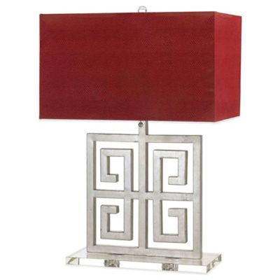 Buy red lamp shades from bed bath beyond af lighting santorini 2 light silver table lamp with faux leather shade in red aloadofball Choice Image