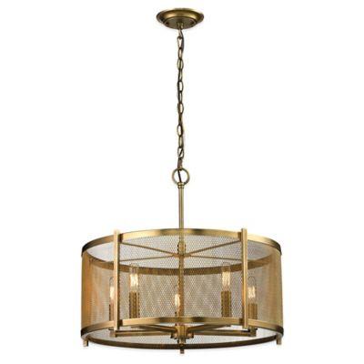 Buy elk lighting pendant light fixture from bed bath beyond elk lighting rialto 5 light pendant in aged brass aloadofball Images