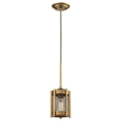 elk lighting rialto mini pendant with metal mesh shade in aged brass bed bath and beyond lighting