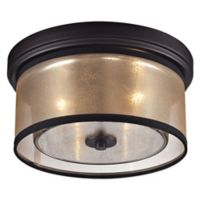 Elk Lighting Diffusion 2-Light Flush-Mount Ceiling Light in Oil Rubbed Bronze with Organza Shade