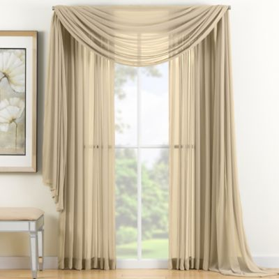 Reverie 84 Inch Sheer Window Curtain Panel In Gold