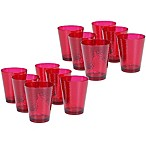 Certified International  Hammered-Acrylic Double Old Fashioned Glasses in Ruby (Set of 12)