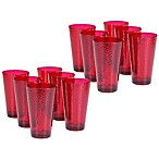 Certified International  Hammered-Acrylic Iced Tea Glasses in Ruby (Set of 12)