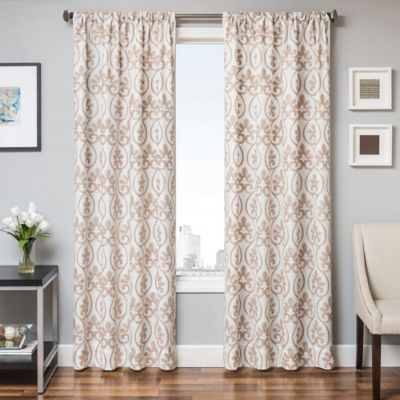 Halo 84 Inch Window Curtain Panel In White Gold
