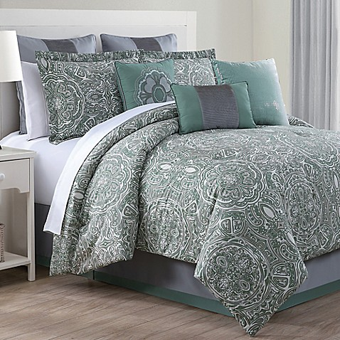 Clara 9 Piece Comforter Set In Green Grey Bed Bath Amp Beyond