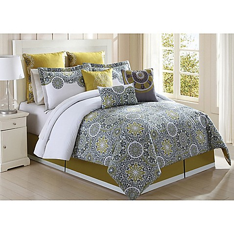 jezebel 9 comforter set in citron grey bed bath