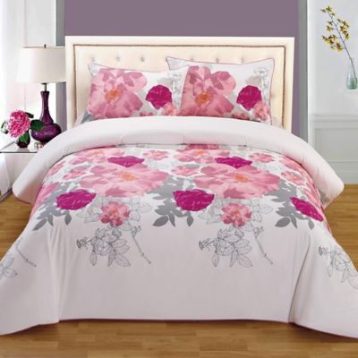Superbe Rose Organic Cotton Reversible Full/Queen Duvet Cover Set