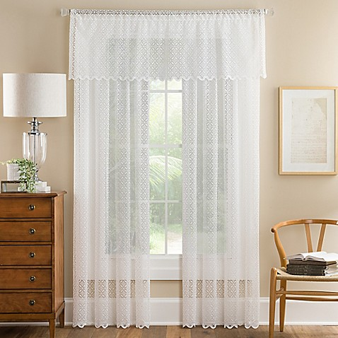 Elsa Lace Sheer Window Curtain Panel In Off White Bed