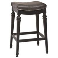 Hillsdale Vetrina Wood Backless Counter Stool in Black/Gold