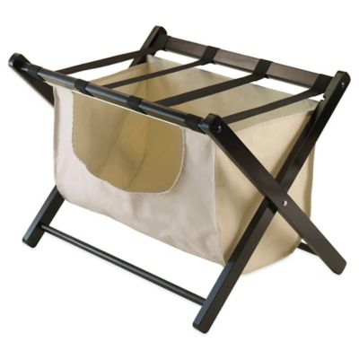 Lovely Winsome Trading Dora Luggage Rack With Removable Fabric Basket