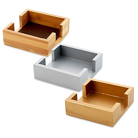 thirstystone square wood coaster caddy bed bath beyond. Black Bedroom Furniture Sets. Home Design Ideas