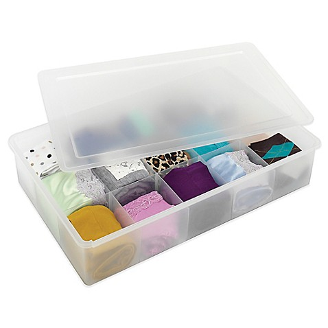 Whitmor Divided Stacking Drawer Organizer Box With Lid