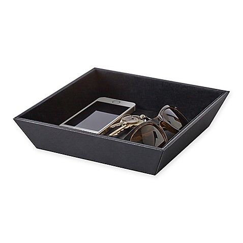 Saffiano Leather Catch All Valet Tray In Black Bed Bath
