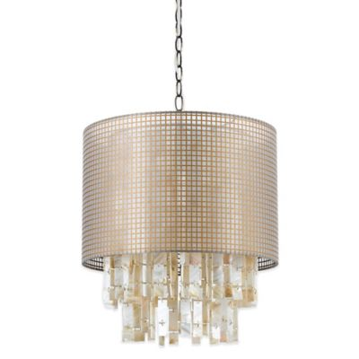 Af lighting lola pendant in blush with natural gauze hardback shade